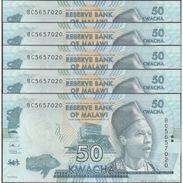 TWN - MALAWI 64c - 50 Kwacha 1.1.2016 DEALERS LOT X 5 - Prefix BC UNC - Malawi