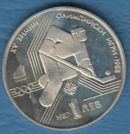 F7149 /- 1 Lev - 1987 - Ice Hockey CALGARY 88 - Bulgaria Bulgarie Bulgarien Bulgarije - Coins Munzen Monnaies Monete - Bulgaria