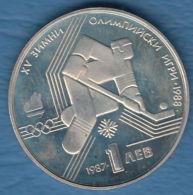 F7157 /- 1 Lev - 1987 - Ice Hockey CALGARY 88 - Bulgaria Bulgarie Bulgarien Bulgarije - Coins Munzen Monnaies Monete - Bulgaria