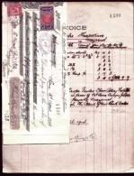 FACTURE ANCIENNE- AUSTRALIE POUR FRANCE - VENTE PEAUX DE MOUTONS-  TIMBRES TAXES + ASSURANCE- 1914- 4 SCANS - Australie