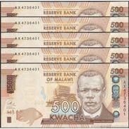 TWN - MALAWI 66a - 500 Kwacha 1.1.2014 DEALERS LOT X 5 - Prefix AX UNC - Malawi