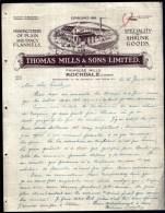 FACTURE OU LETTRE  ANCIENNE AVEC ILLUSTRATION- ANGLETERRE- ROCHDALE POUR FRANCE- MAISON : THOMAS MILLS- 1926 - Australie