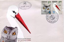 29483 Serbia, Fdc  2008 Showing A Owl, , Hibou,eule, + Ciconia - Eulenvögel