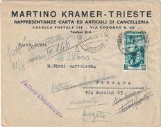 BUSTA AMG-FTT DA TRIESTE A FERRARA DEL 21/08/1952 CON FRANCOBOLLO SERIE ITALIA AL LAVORO L. 12 - CATALOGO SASSONE 95 - Storia Postale