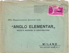 ESPRESSO AMG-FTT DA TRIESTE A MILANO DEL 20/10/1953 CON FRANCOBOLLO SERIE DEMOCRATICA L. 50 - CATALOGO SASSONE E7 - Storia Postale