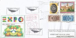 Royaume Des Tonga,Kingdom Of Tonga. Lettre Du Pavillon Des Tonga à L'EXPO UNIVERSELLE,adressée En Andorre - 2015 – Milan (Italy)