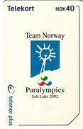 NORWAY - Salt Lake Paralympics Logo N236, 03/02, Tirage 70.000, Used - Norway