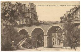 MONACO  TRAIN à Vapeur Pont Et CHAPELLE Ste-Dévote - 703 Edition Giletta CPA - Fontvieille
