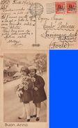 CARTOLINA AMG-FTT BUON ANNO DA TRIESTE A SAVIGNANO 22/12/1947 CON COPPIA FRANCOBOLLI SERIE DEMOCRATICA L. 4 - SASSONE 6 - Storia Postale