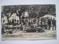 Cpa, Trés Belle Vue Animée, Ambérieu, Place Du Marché - France