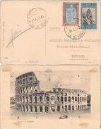 DA ROMA PIAZZA S. IGNAZIO A LIVORNO CON FRANCOBOLLI ANNIVERSARIO V.E. E VITTORIA C. 20 + L. 1,25 - SASSONE 226 / 235 - 1900-44 Victor Emmanuel III