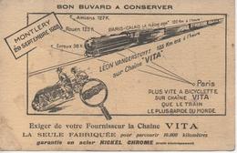 Buvard La Chaîne Vita - Record Du Monde De Léon VANDERSTUYFT - Montlery 29 Septembre 1928 - Cyclisme - Locomotive - Blotters