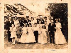 Grande Photo Originale Mariage Double Sur Nantes Vers 1940/50 - Studio J. Bourdon - Personnes Anonymes