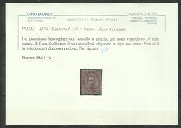 ITALIA REGNO ITALY KINGDOM 1879 RE UMBERTO I KING CENT. 30c USATO USED OBLITERE' CERTIFICATO - 1878-00 Humbert I