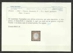 ITALIA REGNO ITALY KINGDOM 1862 VITTORIO EMANUELE II 10 CENT. BISTRO GIALLASTRO  MLH OTTIMA CENTRATURA - 1861-78 Vittorio Emanuele II
