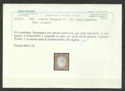 ITALIA REGNO ITALY KINGDOM 1862 VITTORIO EMANUELE II 10 CENT. BISTRO OLIVA  MLH - 1861-78 Victor Emmanuel II
