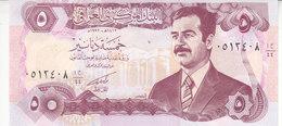 IRAQ 5 DINARS 1992 P-80 EMBOSSED BANK NAME PRINTED IN CHINA UNC - Iraq