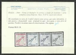 ITALIA REGNO ITALY KINGDOM 1944 FIRMA DI BADOGLIO SERIE COMPLETA COMPLETE SET SENZA FILIGRANA SENZA GOMMA - Nuovi