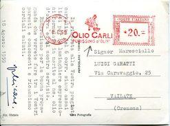 29495 Italia, Red Meter/freistempel/ema/imperia 1959 Olio Carli Purissimo D'oliva, Olive Oil Oliveol, Circuled Card - Machine Stamps (ATM)