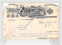 96 1175 HONGRIE Magyarorsz‡g Hungary  KASSA OBERUNGARN Slowakei 1907 Fabrik Feinster ADLER GOLD - KONIG SERB HOFLIEFERA - Factures & Documents Commerciaux