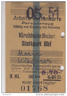 Fahrkarte, Ticket, Billet: EISENBAHN Arbeiterwochenkarte Kirchheim (Neckar) - Stuttgart 1951, So. Bis Sa.,3. Kl. 5,70 DM - Europa