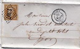 1867 FRANKREICH - DIJON, 10 C Auf Faltbrief Mit Geschriebenen Inhalt, 2 Gut Leserliche Stempel - France