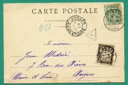 Carte Postale Evreux Eveché Cachet 1901 Taxée à Angers 10 Centimes Chiffre Taxe - Lettres Taxées