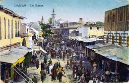 DAMAS, DAMASKUS (Syrien), Le Bazar, Gelaufen Um 1928, Seltene Karte Und Seltene 2 Fach Frankierung - Syrien