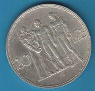 CESKOSLOVENSKA 20 KORUN 1934 KM# 17 ARGENT SILVER .700 - Czechoslovakia