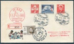 1960 Greenland SDR Stromfjord Regsitered Danmark Befriet Godthab 1974 Children Charity Cover - Covers & Documents