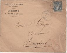 Enveloppe Commerciale 1885 / HENRY / Spécialité D'orges De Champagne / Brasseie /  10 Payns / Aube - Maps