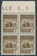 1944-45 RSI MONUMENTI DISTRUTTI 5 CENT QUARTINA MNH ** - QV-4 - 4. 1944-45 Repubblica Sociale