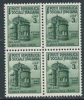1944-45 RSI MONUMENTI DISTRUTTI 3 LIRE QUARTINA FOTOGRAFIA CAMPIONE MNH ** Q2 - 4. 1944-45 Repubblica Sociale