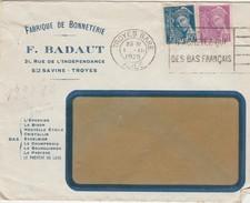 Enveloppe Commerciale 1939 / F. BADAUT / Bonneterie / Bas / Sainte Savine / Cachet Et Flamme Troyes Gare / 10 Aube - Maps