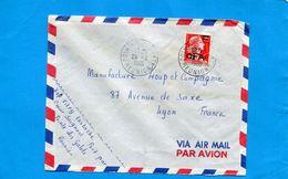 Marcphilie-Réunion -lettre >France -cad   Pointe Des Galets-1960-stamp 337a12frs CFA Marianne De Muller - Lettres & Documents