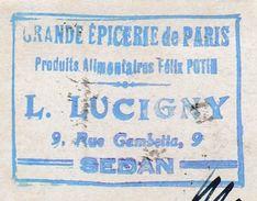 """Carte Commerciale 1942 / Entier Pétain 80 C + Complément / """"Grande Epicerie De Paris"""" / L. LUCIGNY / 08 Sedan - Maps"""