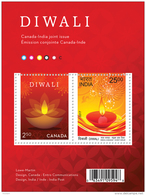 """CANADA, 2017, NEW  DIWALI Glowing """"diya""""  Joint Issue Canada Post  With India Post  Red & Gold - Blocs-feuillets"""
