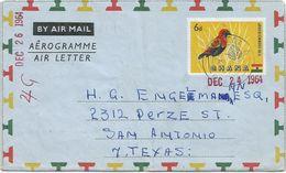Ghana 1964 Winneba Fire Crowned Bishop Bird Aerogramme Watermark Letter T - Ghana (1957-...)