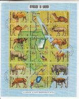 Burundi 1970 Used Scott #336 Sheet Of 18 7fr Animals, Map Showing Southern Nile River Source - Burundi