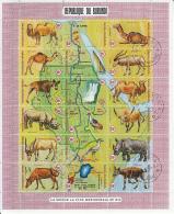 Burundi 1970 Used Scott #C127 Sheet Of 18 14fr Animals, Map Showing Southern Nile River Source - Burundi