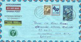Ghana 2002 Esiama Flower C650 ADB Bank Western Union Aerogramme - Ghana (1957-...)
