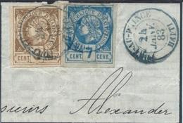 Port-au-Prince (24 Janvier 83) En Bleu : Liberty Heads Non Dentelées 3c + 7c Sur Gros Fragment. TTB - Haiti
