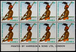 A5815 ZAMBIA 1981, SG 344  28n Definitive, Royal Barge Paddler, MNH Block Of 8 With Imprint - Zambia (1965-...)