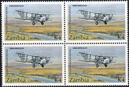 A5862 ZAMBIA 1992, SG 704 Airmail Service, De Havilland Hercules Plane, MNH Block Of 4 - Zambia (1965-...)