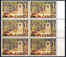 A5890 ZAMBIA 1979, SG 282 28n Surcharge On 15n Independence Monument, MNH Marginal Block Of 6 - Zambia (1965-...)