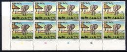 B5052 ZAMBIA 1979, SG 279 8n Surcharge On 9n Elephant, MNH Control Block Of 10 - Zambia (1965-...)