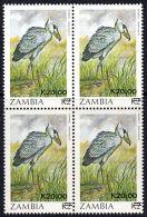 C0071 ZAMBIA 1989, SG 594 K20 Surcharge On K2 Stork (birds), MNH Block Of 4 - Zambia (1965-...)