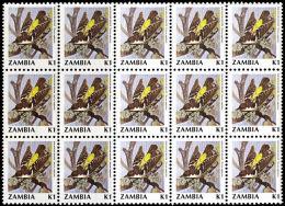D5040 ZAMBIA 1990, SG 630 Birds (2nd Series)  K1 Bar-winged Weaver, MNH Block Of 15 - Zambia (1965-...)