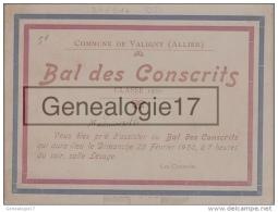 03 11880 VALIGNY ALLIER 1920 BAL DES CONSCRITS Invitaion - Announcements