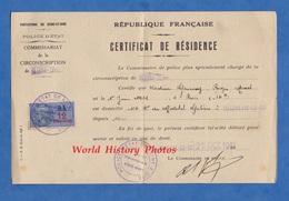 Document De 1941 - VILLENEUVE Le ROI - Certificat De Résidence - Commissaire De Police D' ATHIS MONS - Timbre Fiscal - 1939-45
